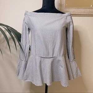 SEED Off the Shoulder Striped Peplum Top Size 8